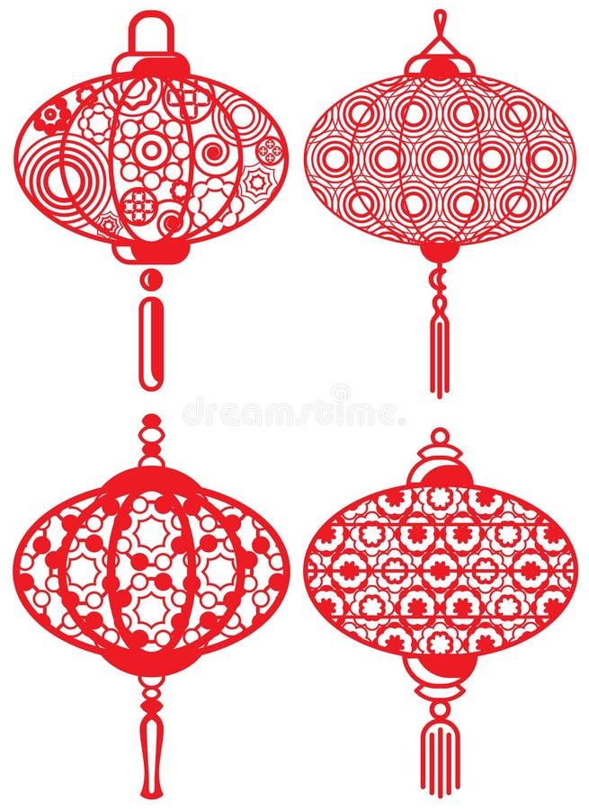 被设置的中国当代设计灯笼 向量例证