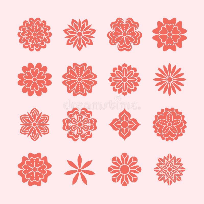 被设置的乱画花,桃红色红颜色 喜帖的美好的花卉设计元素 Zentangle背景,夏天花 向量例证