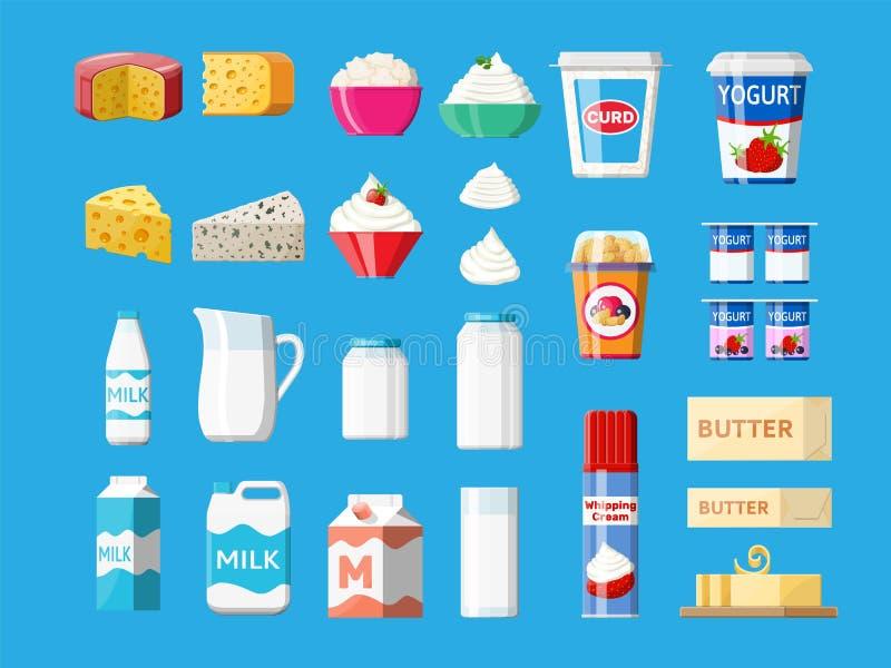被设置的乳制品 牛奶收集食物 向量例证