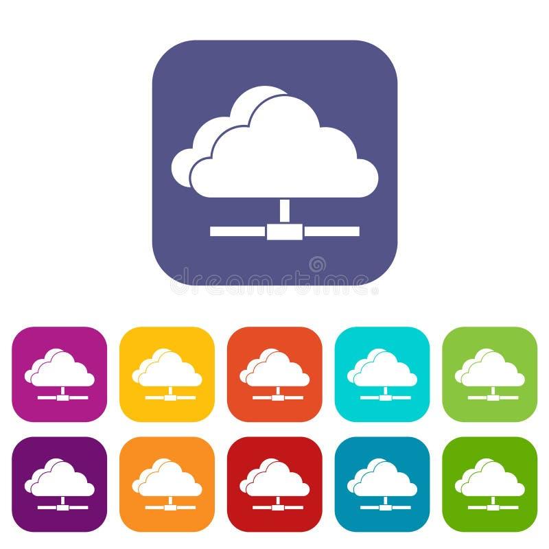 被设置的云彩计算的连接象 库存例证
