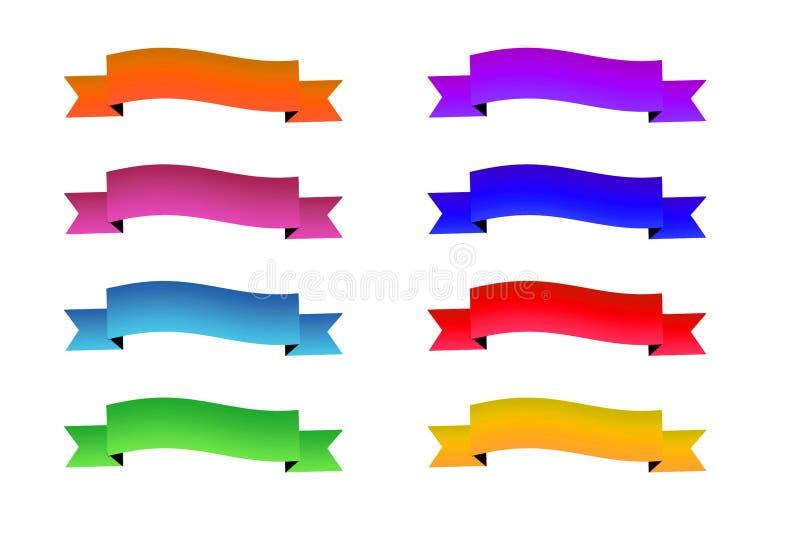 被设置的五颜六色的丝带 传染媒介股票 皇族释放例证
