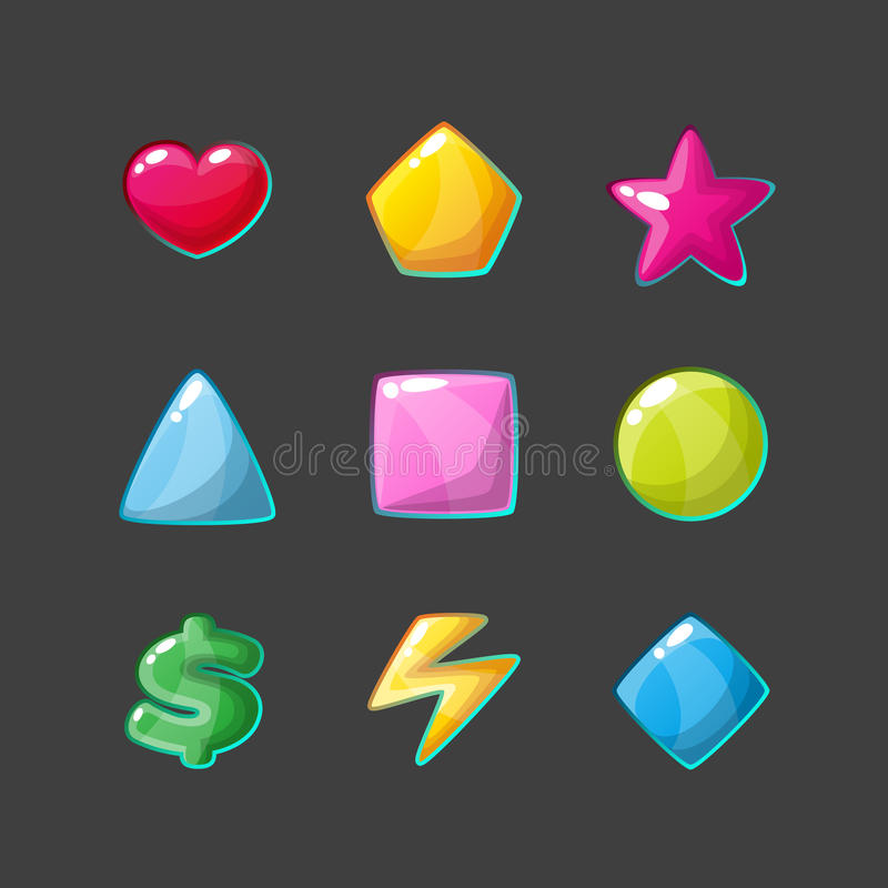 被设置的五颜六色的光滑的形状象 向量例证