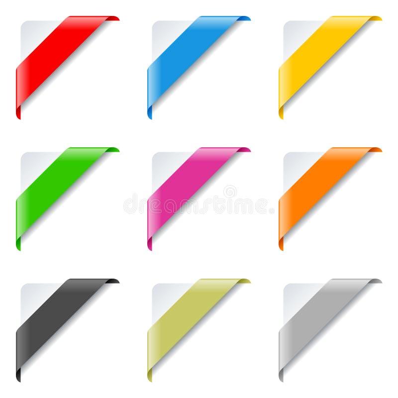 被设置的五颜六色的壁角丝带 向量例证