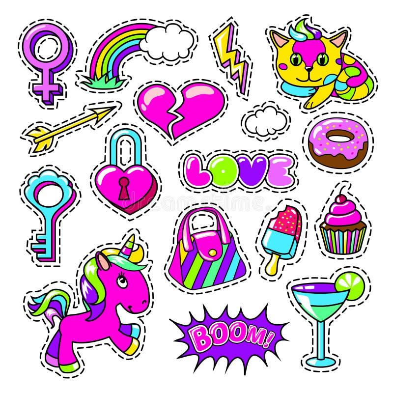 被设置的五颜六色的女孩时尚补丁 向量例证