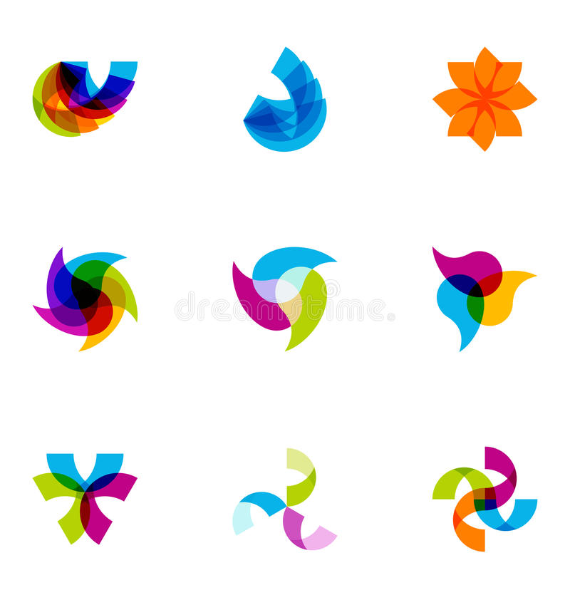 被设置的五颜六色的徽标 库存例证
