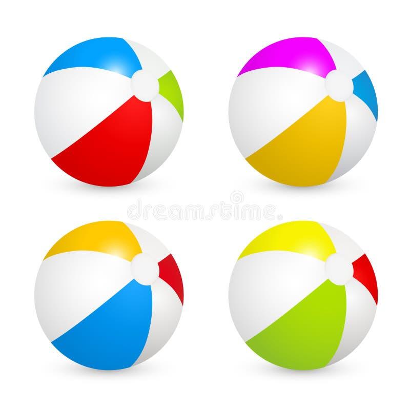 被设置的五颜六色的海滩球 在空白背景查出的向量例证 皇族释放例证