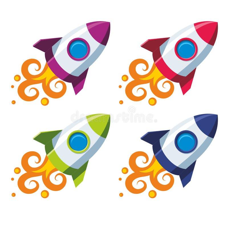 被设置的五颜六色的火箭 向量例证