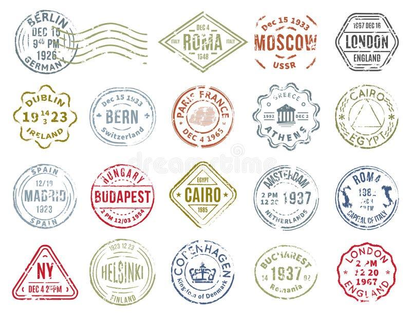被设置的五颜六色的邮政邮票 库存例证