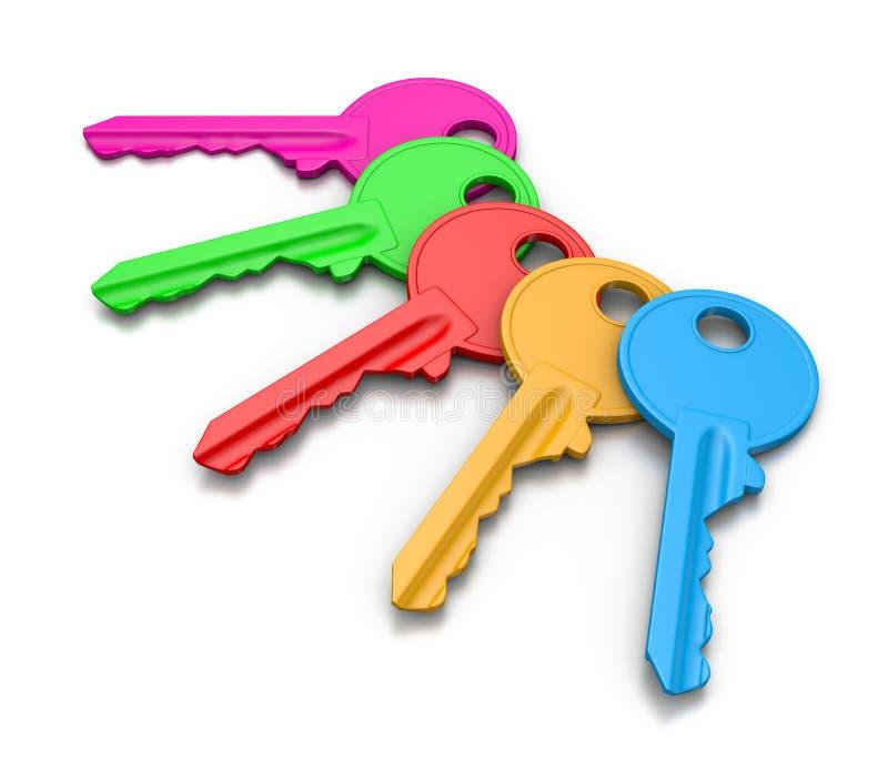 被设置的五颜六色的钥匙 向量例证