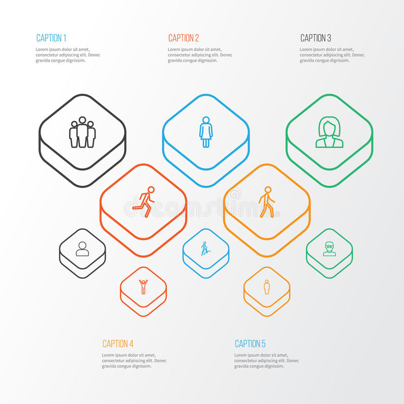 被设置的人的概述象 队、用户、赛跑和其他元素的汇集 并且包括标志例如工作者 库存例证