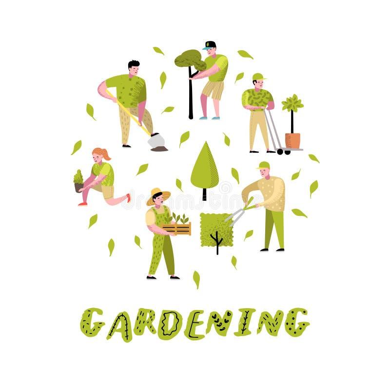 被设置的从事园艺的动画片 与植物和树的滑稽的简单的字符 男人和妇女花匠 库存例证