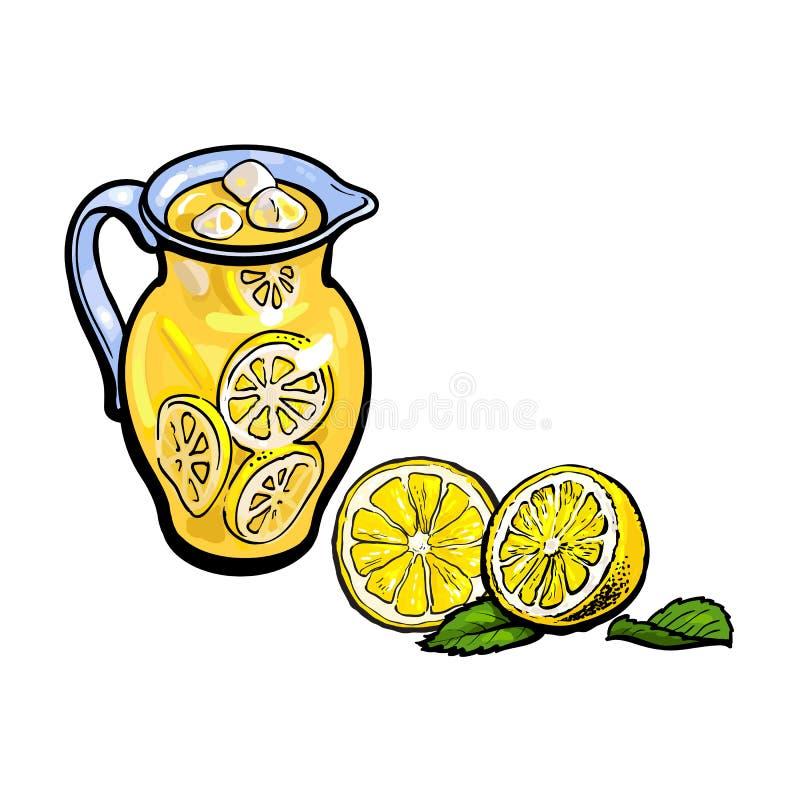 被设置的传染媒介剪影柠檬水玻璃水罐切的柠檬 皇族释放例证