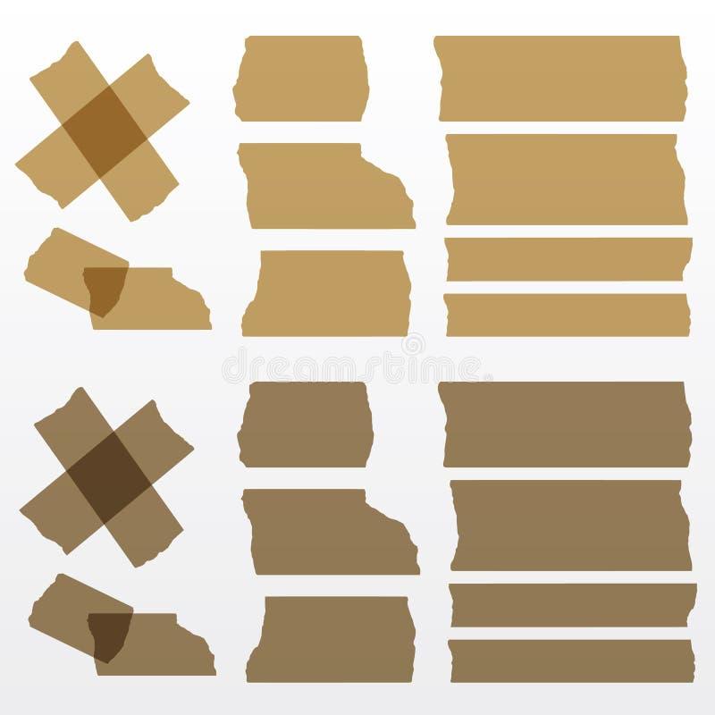 被设置的传染媒介棕色橡皮膏 免版税图库摄影