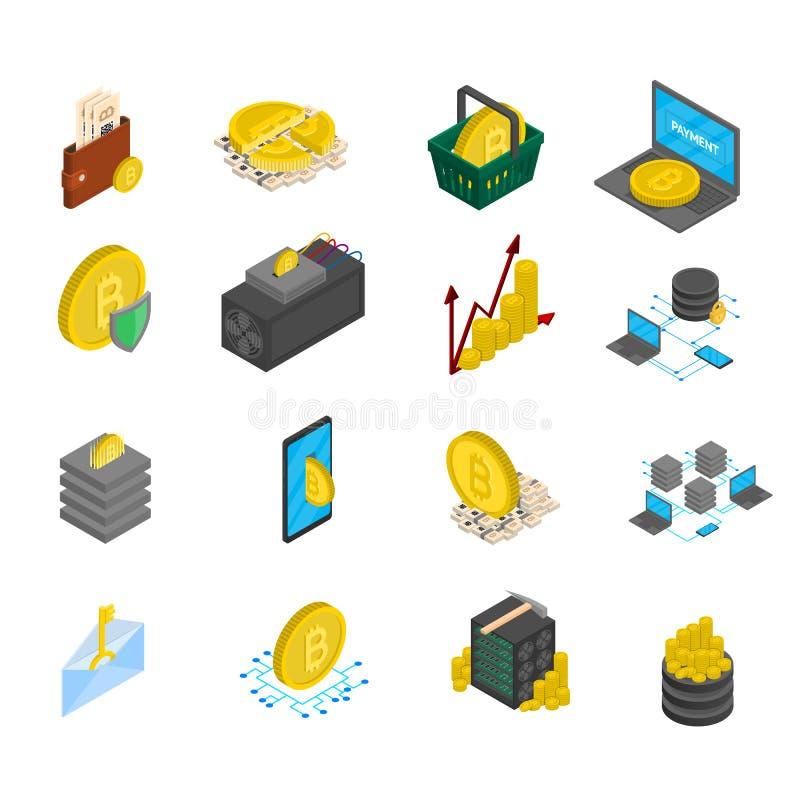 被设置的传染媒介等量blockhain和cryptocurrency象 Cryptocurrency bitcoin企业网上付款交易 3d 向量例证