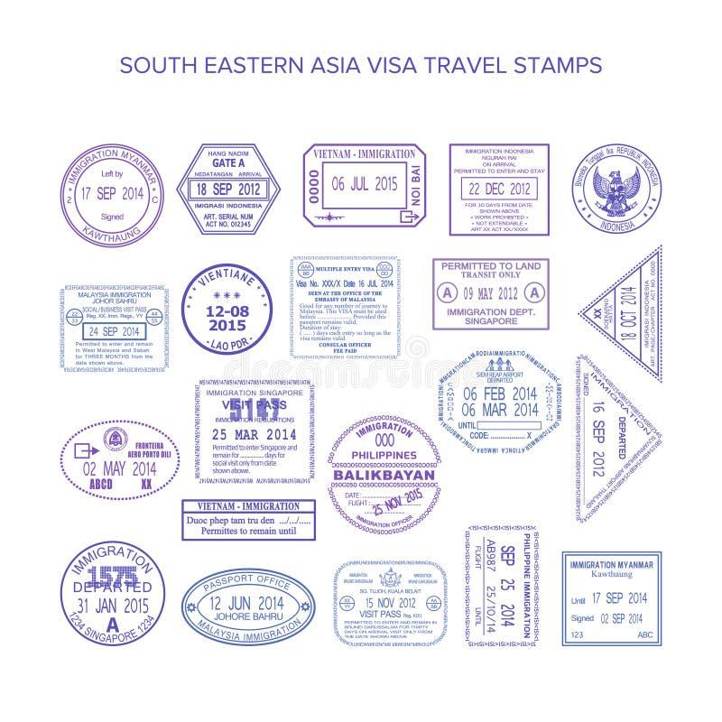 被设置的传染媒介东南亚洲共同的旅行签证图章 皇族释放例证