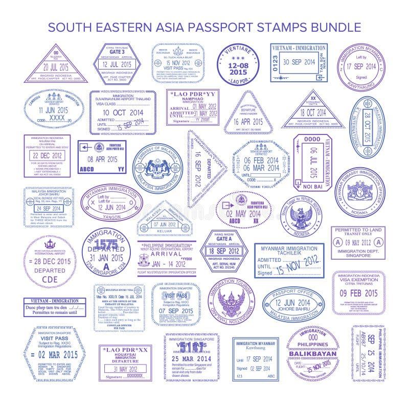 被设置的传染媒介东南亚洲旅行签证图章 向量例证