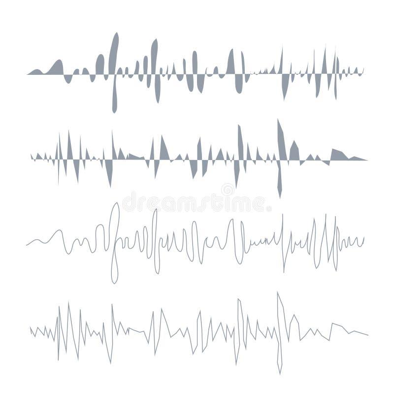 被设置的传染媒介声波 音频调平器技术,搏动音乐会 向量 向量例证