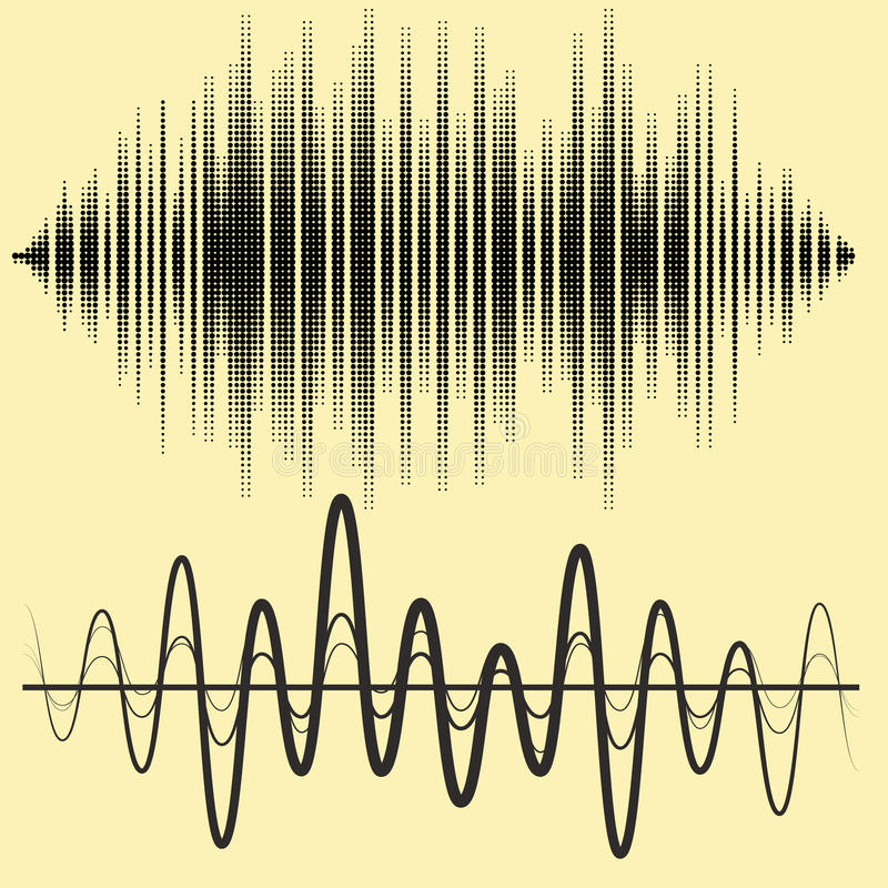 被设置的传染媒介声波 音频调平器技术,搏动音乐会 音乐样式和纹理的传染媒介例证 库存例证