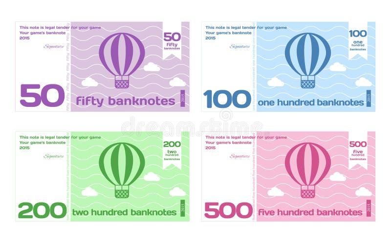 被设置的传染媒介抽象逗人喜爱的颜色钞票模板 皇族释放例证