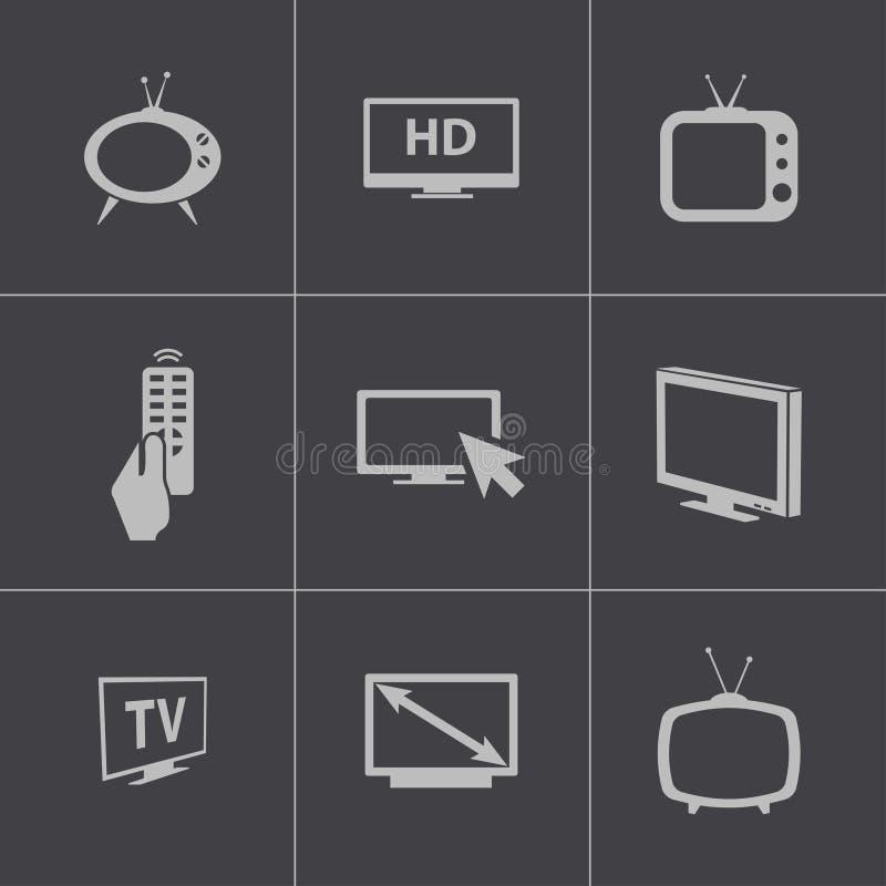 被设置的传染媒介黑电视象 库存例证