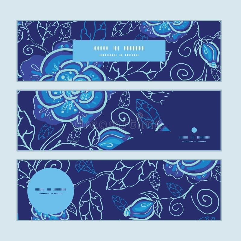 被设置的传染媒介蓝色夜花水平的横幅 库存例证
