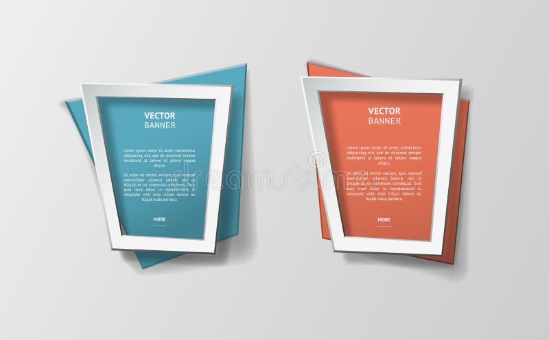 被设置的传染媒介infographic origami横幅 库存例证