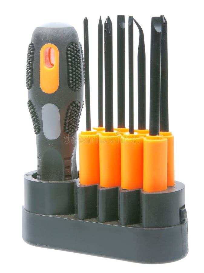 被设置的位黑色橙色螺丝刀 免版税库存图片