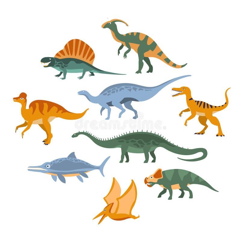被设置的侏罗纪恐龙 库存例证