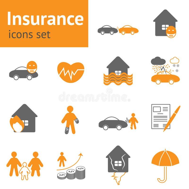 被设置的保险图标 库存例证