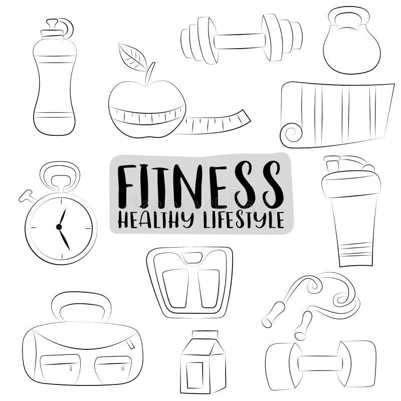 被设置的健身和健康生活方式象 黑白概述着色页 手拉的乱画对象 库存例证