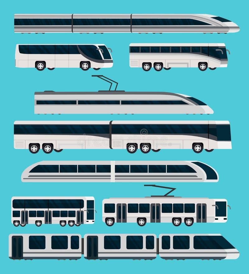 被设置的公共交通工具正交象 向量例证
