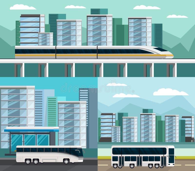 被设置的公共交通正交构成 库存例证