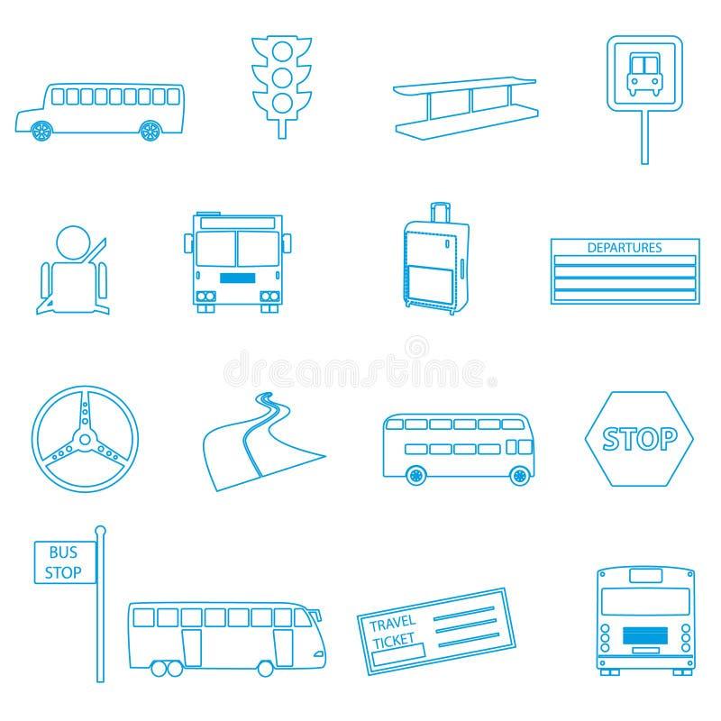 被设置的公共汽车运输简单的概述象 库存例证