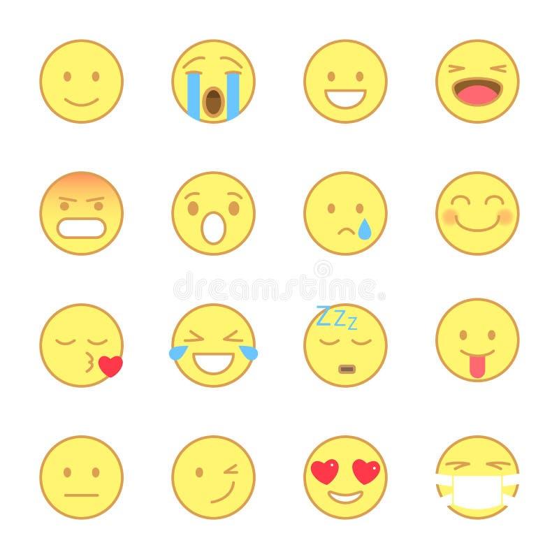 被设置的兴高采烈的平的象 Emoji和意思号线平的样式 象在白色背景导航隔绝 向量例证