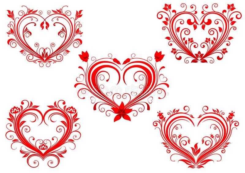 被设置的典雅的花卉红色华伦泰心脏 库存例证