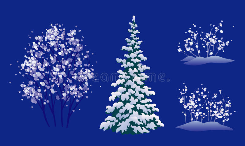 被设置的冬天树 向量例证