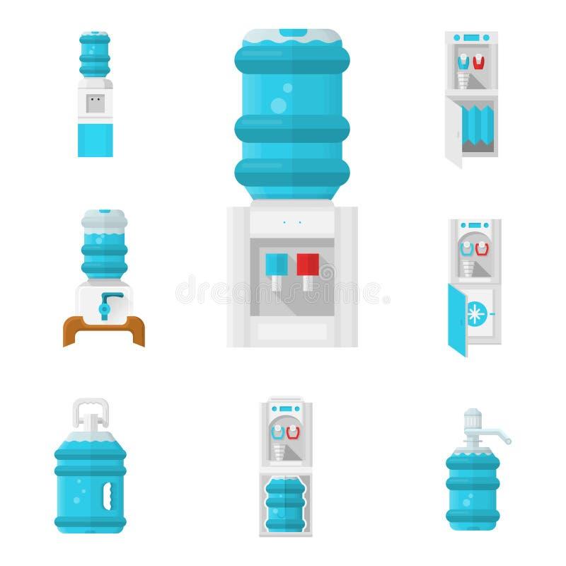 被设置的冷却器平的颜色象 库存例证