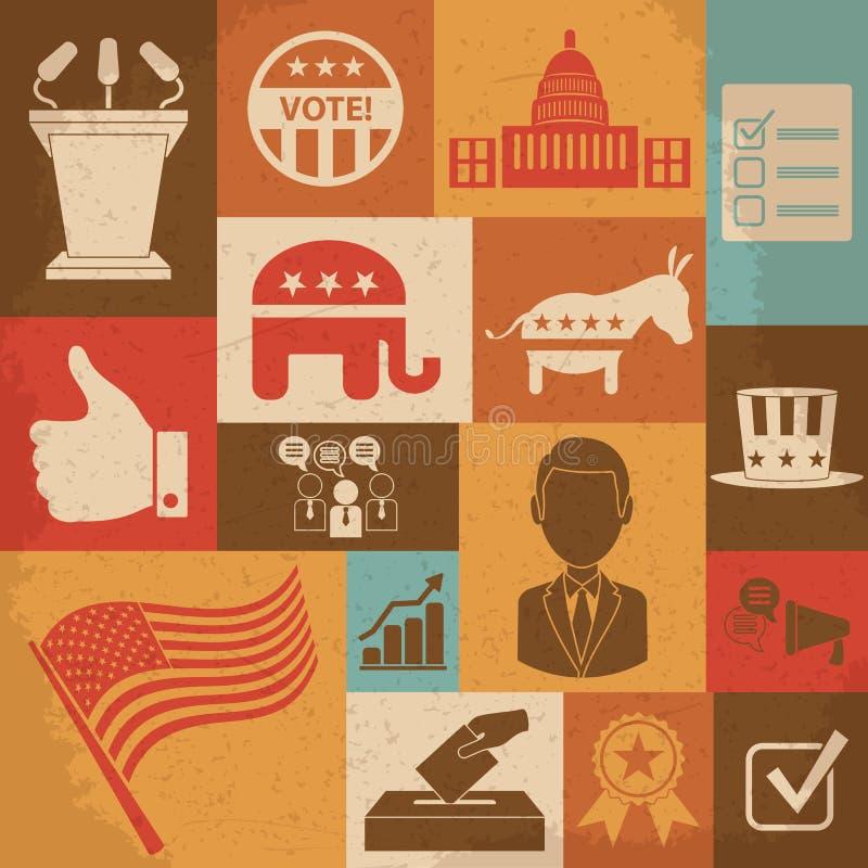被设置的减速火箭的政治竞选活动象 库存例证