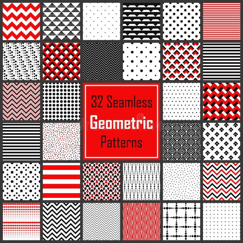 被设置的几何黑白色红色样式 皇族释放例证