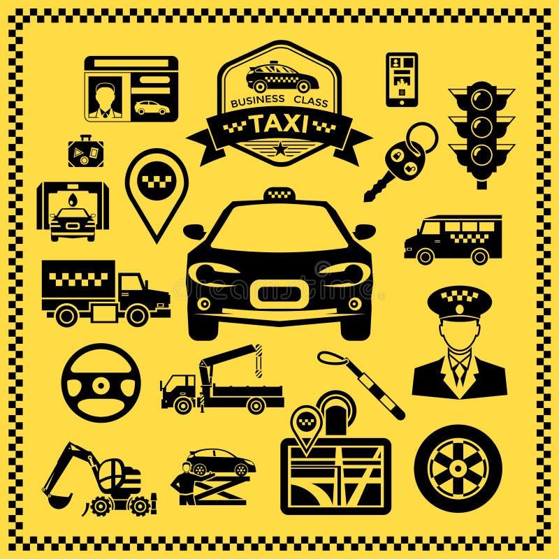 被设置的出租汽车装饰象 库存例证