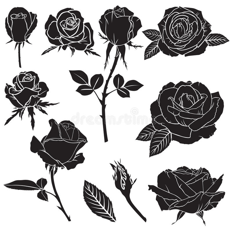 被设置的剪影醉汉玫瑰色花 库存例证