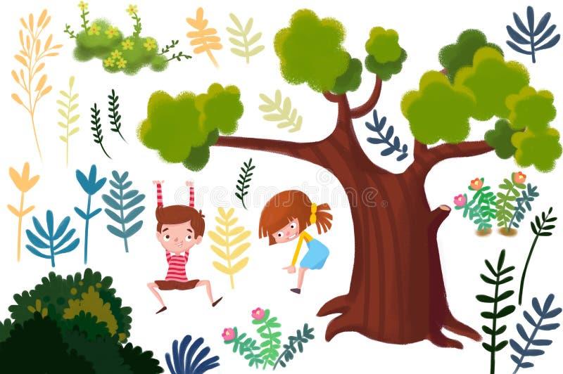 被设置的剪贴美术:植物和孩子 库存例证