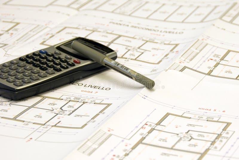 被设置的办公室计划 免版税库存图片