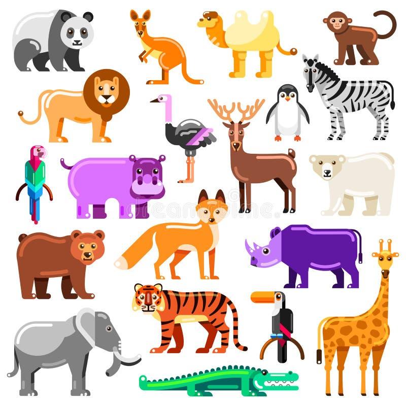 被设置的动物园动物 传染媒介平的例证 在白色背景隔绝的逗人喜爱的五颜六色的字符 皇族释放例证
