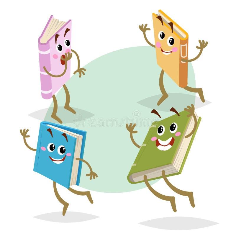 被设置的动画片不同的颜色有趣的书字符 跑,跳跃和微笑吉祥人 回到学校、孩子教育和knowl 皇族释放例证