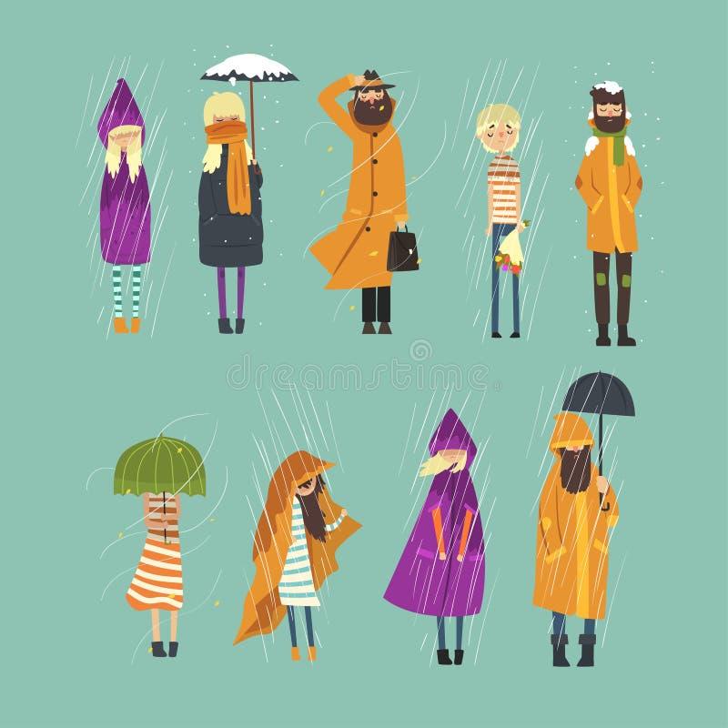 被设置的动画片平的人字符结冰外面 多雨和多雪的天气 有花花束的男孩,人 向量例证