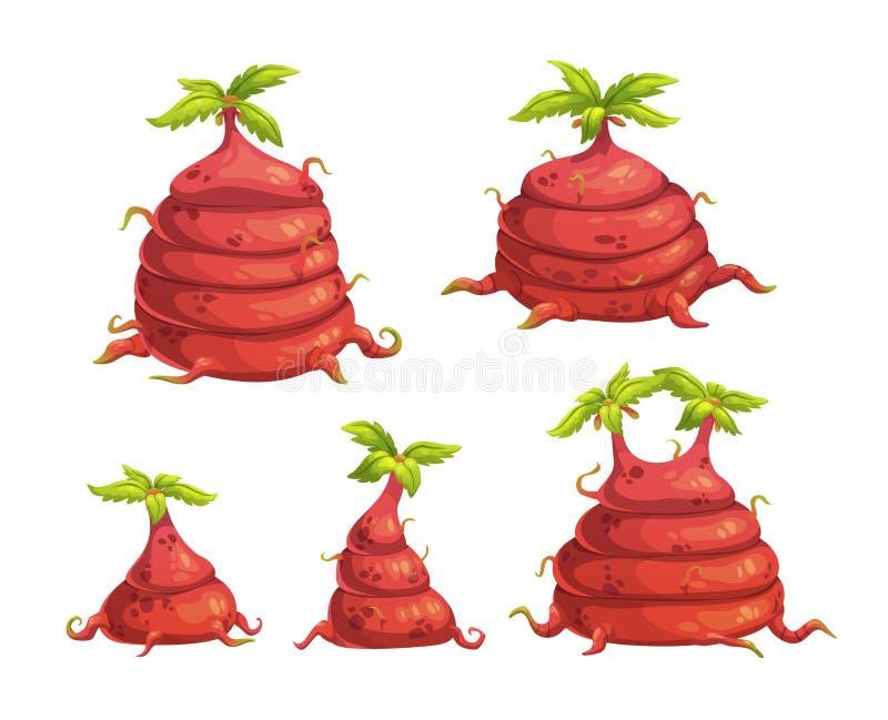 被设置的动画片幻想外籍人妖怪植物 库存例证