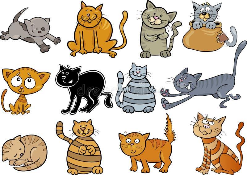 被设置的动画片猫 向量例证