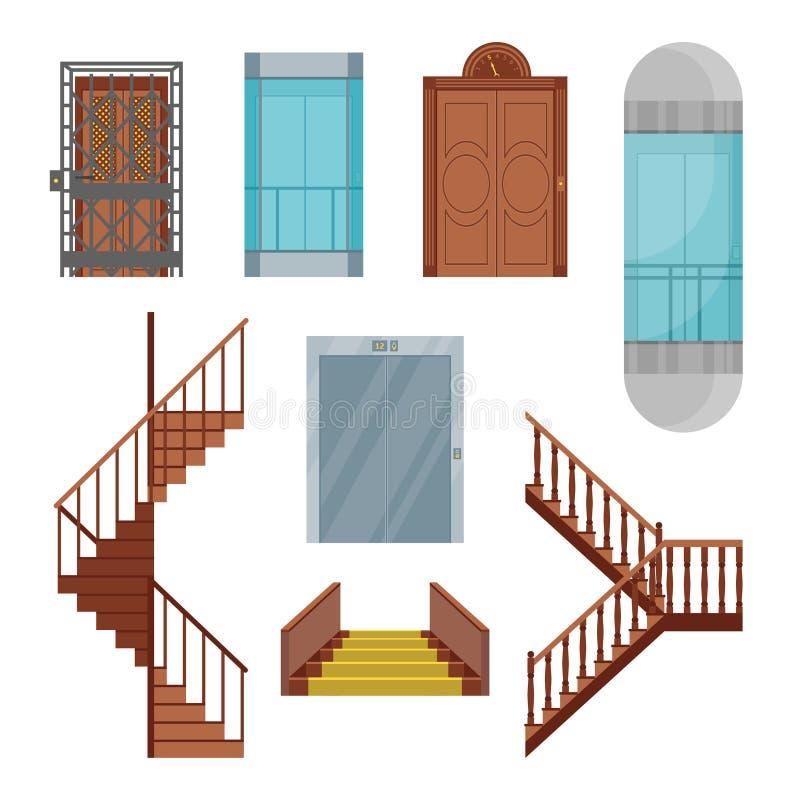 被设置的动画片电梯和台阶 向量 向量例证