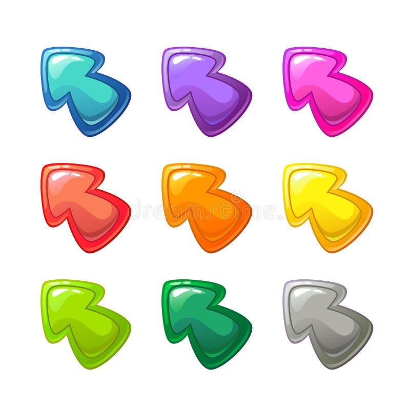 被设置的动画片五颜六色的光滑的箭头 皇族释放例证